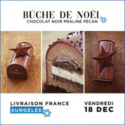 [LIVRAISON SURGELEE VEN 18 DEC.] Bûche de Noël - Chocolat Noir Praliné Pécan (6 personnes)